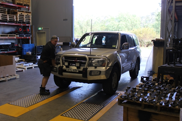 Project Pajero shock brake proportioning and wheel alignment check before work started